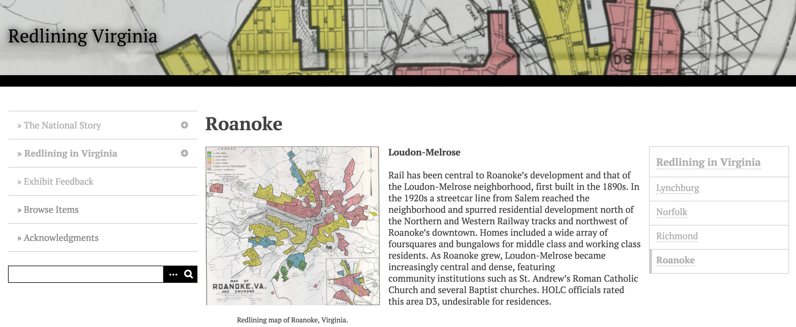 Screenshot of Redlining Virginia project site showing a map of Roanoke =